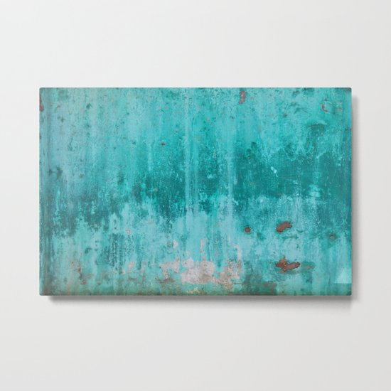 Weathered turquoise concrete wall texture Metal Print
