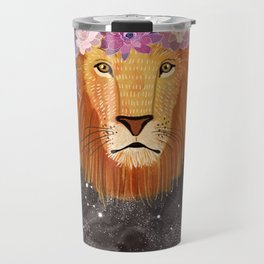 Lion with flowers on head Travel Mug