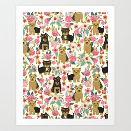 Yorkshire Terrier cute florals must have gifts for dog lover yorkie owners delight secret gifts art Art Print