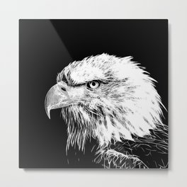 bald eagle 03 neon lines white Metal Print