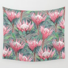 Pink Painted King Proteas on grey Wall Tapestry