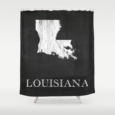 Louisiana State Map Chalk Drawing Shower Curtain
