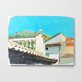 Glimpse with buildings, balustrade, roof and mountain Metal Print