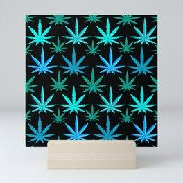 Marijuana Teal Turquoise Weed Mini Art Print