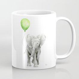Baby Elephant with Green Balloon Coffee Mug