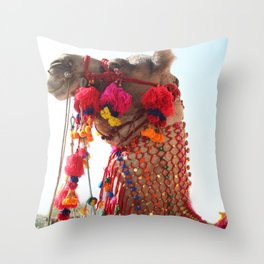 Boho Camel with Tassels and Pom Poms, in India Throw Pillow