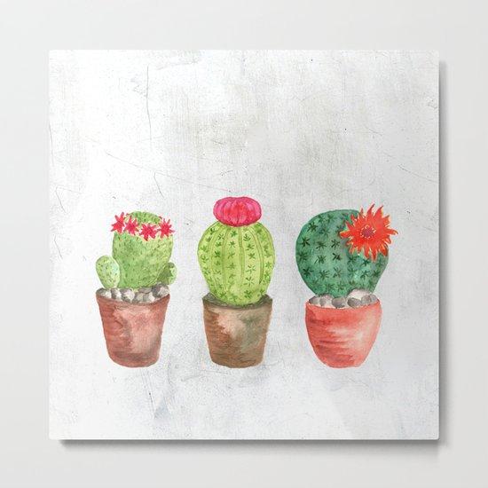 Three Cacti watercolor white Metal Print