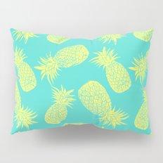 Pineapple Pattern - Turquoise & Lemon Pillow Sham