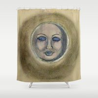 sleep Shower Curtains featuring Sleep by Jen Hallbrown