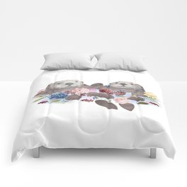 Sea Otters Holding Hands, Love Art Comforters
