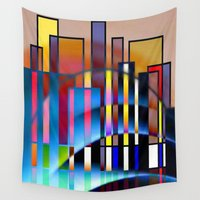 seattle Wall Tapestries featuring Seattle by Kristine Rae Hanning