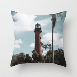 Jupiter Lighthouse Colorized Coastal Landscape Photo Throw Pillow
