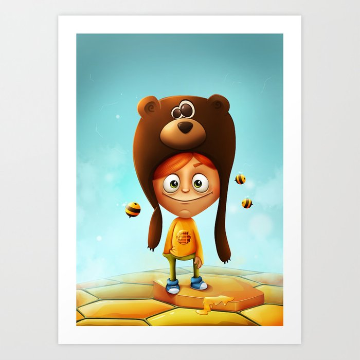 The boy, the bear & the bees Art Print