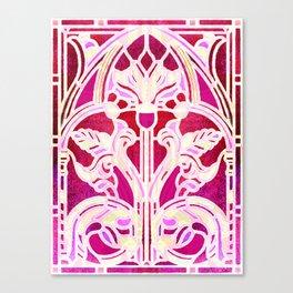 Pink Purple and Red Art Nouveau Batik Pattern Canvas Print