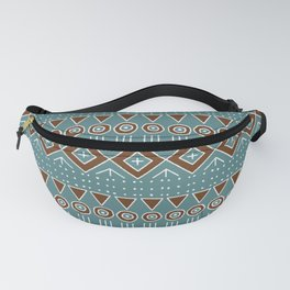 Mudcloth Style 2 in Turquoise and Brown Fanny Pack