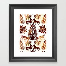 horse damask Framed Art Print