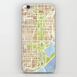 Washington DC watercolor city map iPhone Skin