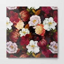 Vintage & Shabby Chic -Midnight Botanical Night Flower Garden  Metal Print