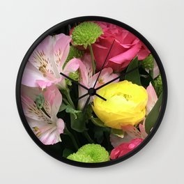 Spring Floral Bouquet in Pink, Red and Yellow Wall Clock