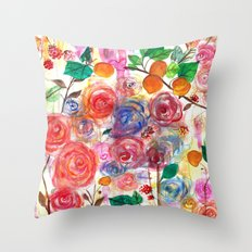 Abstract Watercolour Floral + Fruit Painting  Throw Pillow