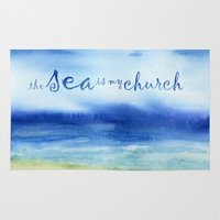 reassurance Area & Throw Rugs featuring The Sea Is My Church (text) by Jacqueline Maldonado