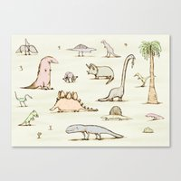 dinosaurs Canvas Prints featuring Dinosaurs by Sophie Corrigan