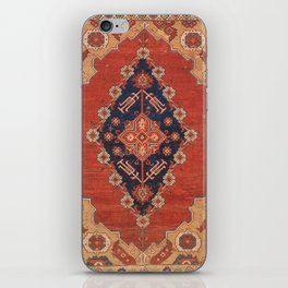Southwest Tuscan Shapes II // 18th Century Aged Dark Blue Redish Yellow Colorful Ornate Rug Pattern iPhone Skin