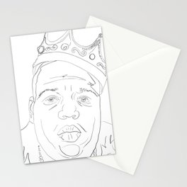Notorious BIG, portrait, line drawing, Biggy Smalls Stationery Cards