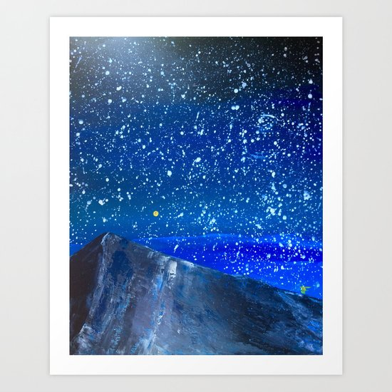 Moon Rising as an orange dot in the Great Sand Dunes National Park, USA travel Art Print