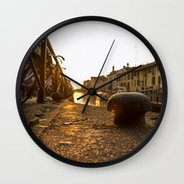 Sunset on the Naviglio Grande in the center of Milan Wall Clock