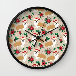 Welsh Corgi poinsettia christmas hat santa little corgi elf pet friendly dog breed gifts Wall Clock
