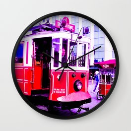 Red tram. Wall Clock