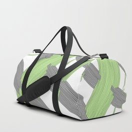 Threaded One, an abstract drawing of gray and bright green threads intersecting Duffle Bag