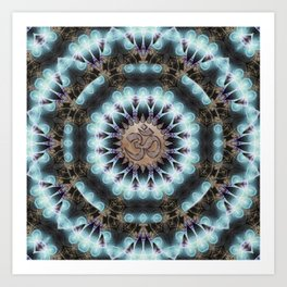 Om Shanti Fractal Geometry [ earthy aqua remix ] Art Print