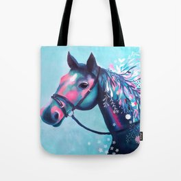 Horse with Floral Mane Tote Bag