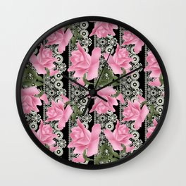 Gentle roses on a lace background. Wall Clock