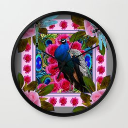BLUE DRAGONFLIES PEACOCK & PINK ROSES ART Wall Clock