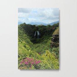 Mountain waterfalls and floral Metal Print
