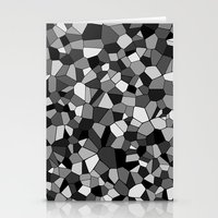 gray pattern Stationery Cards featuring Gray Monochrome Mosaic Pattern by Margit Brack