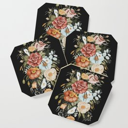 Roses and Poppies Bouquet on Charcoal Black Coaster