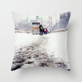 Snowy Day on Queens Blvd Throw Pillow