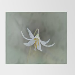 White Trout Lily in the Forest Throw Blanket