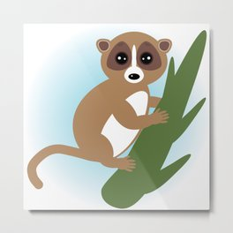lemur on green branch on white background Metal Print