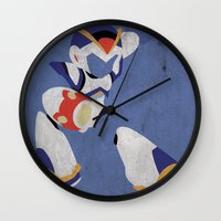 megaman Wall Clocks featuring Megaman X by JHTY