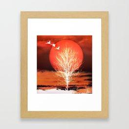 Sun in red Framed Art Print