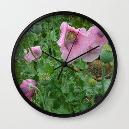 Poppies in rain Wall Clock