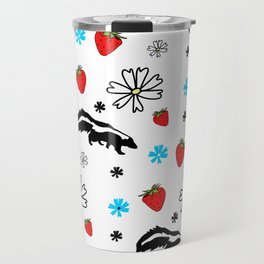Skunk, Flowers, and Strawberry Pattern Cute Quirky Whimsical Travel Mug