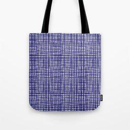 Grid indigo blue bold dramatic modern minimal abstract painting lines gridded pattern print minimal Tote Bag