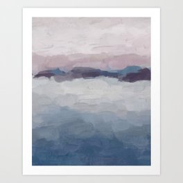 Plum Purple Lavender Blue Abstract Painting Ocean Waves Cloud Horizon, Modern Wall Art, Digital Art Print