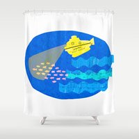 the life aquatic Shower Curtains featuring The Life Aquatic fan art by Alxndra Cook